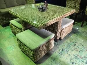 アジアン家具 ウォーターヒヤシンス カフェテーブルセット